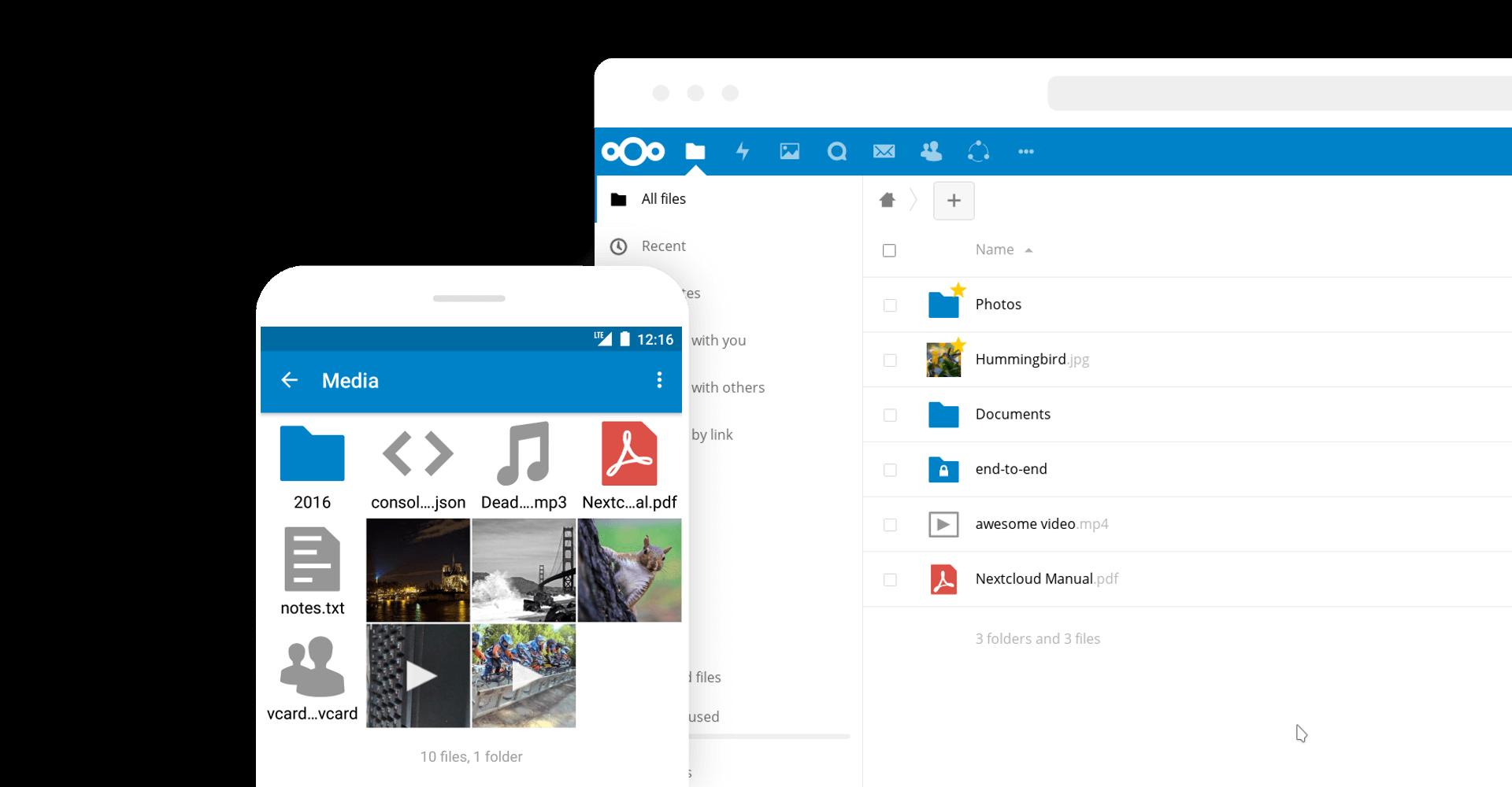 Image mit Nextcloud App und Desktop Darstellung